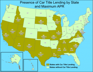 Presence of Car Title Lending by State and Maximum APR